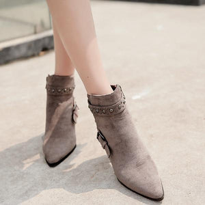 Fashion Rivet High Heel Ankle Boots