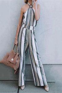 Fashion Business Casual Slim Strip Sleeveless Halter Jumpsuit