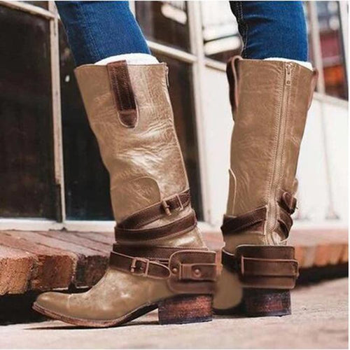 Zipper Leather High Knee Boots Low Square Martin Booties