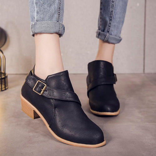 Leather Square Heel Ankle Boots Autumn Buckle Shoes