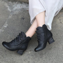 Load image into Gallery viewer, Genuine Leather Retro Ankle Boots Floral Casual Shoes