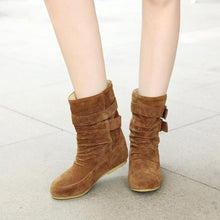 Load image into Gallery viewer, Matte Leather Boots Buckle Retro Booties In Autumn/Winter