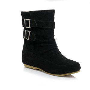 Matte Leather Boots Buckle Retro Booties In Autumn/Winter