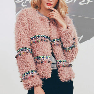Fashion Tassel Plush Coat Outerwear