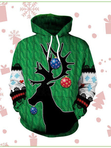 Women's Christmas Festival 3D Deer Head Digital Print Hoodie