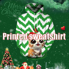 Load image into Gallery viewer, Christmas Leather Print Hooded Sweater