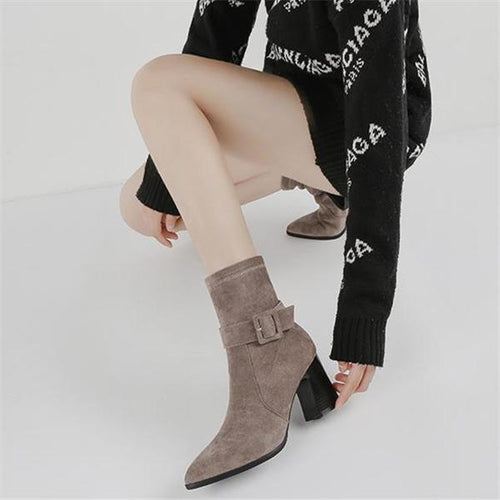 Elegant Fashion Thermal Plain Mules High Tube Thick High Heel Boots
