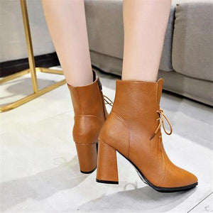 Elegant Fashion Solid Color High Tube Thick High Heel Mules Boots