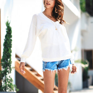 Fashion Plain Long Sleeve V Neck Sweaters