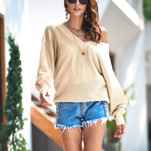 Load image into Gallery viewer, Fashion Plain Long Sleeve V Neck Sweaters