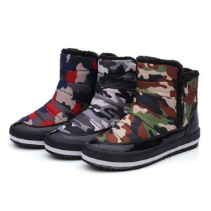 Fashion Plush Side Zipper Camouflage Snow Boots