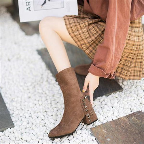Lady Chic Casual Suede Rivet Thick Heel High Tube Mules Boots