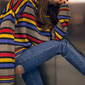 Casual Long Sleeve Round Neck Coloring Stripe Sweater