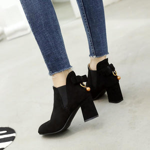 Chunky Heels Ankle Boots Causal Suede Shoes