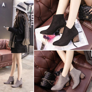 Fashion Suede High Heel Short Boots