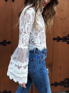 Fashion Stitching Lace Round Neck Shirts