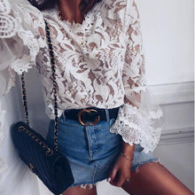 Load image into Gallery viewer, Fashion Stitching Lace Round Neck Shirts