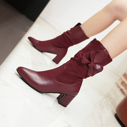 Pointed Toe Boots Square Heels Suede Leather Bow Shoes