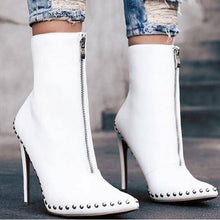 Load image into Gallery viewer, Rivet Pointed Toe Leather High Thin Heel Boots