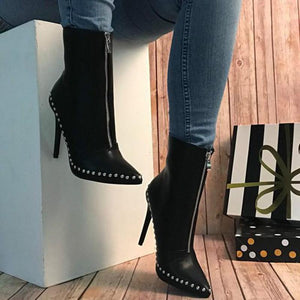 Rivet Pointed Toe Leather High Thin Heel Boots