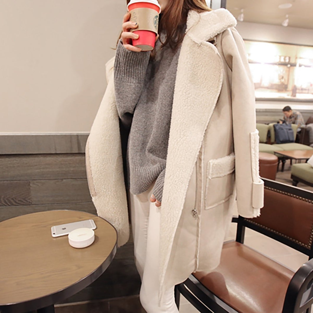Fashion Lapel Plain Winter Long Coat
