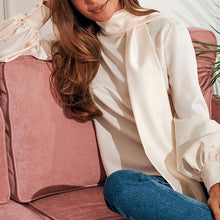 Load image into Gallery viewer, Turtle Neck Long Lantern Sleeve Plain Elegant Blouses