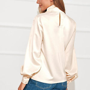 Turtle Neck Long Lantern Sleeve Plain Elegant Blouses