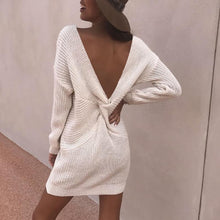 Load image into Gallery viewer, Fashion Deep V Bare Back Pure Colour Sweater