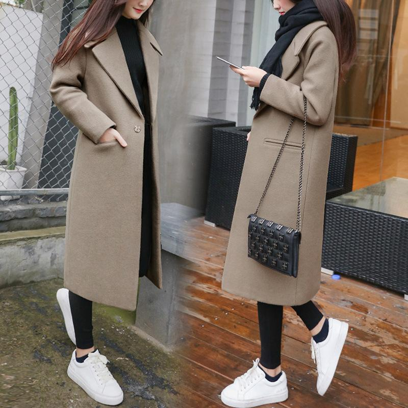 Elegant Fashion Wide Lapel  Slim Woolen Long Coat