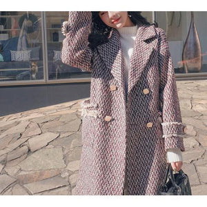 Chic Sweet Check Woolen Thicken Loose Long Coat