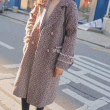 Load image into Gallery viewer, Chic Sweet Check Woolen Thicken Loose Long Coat