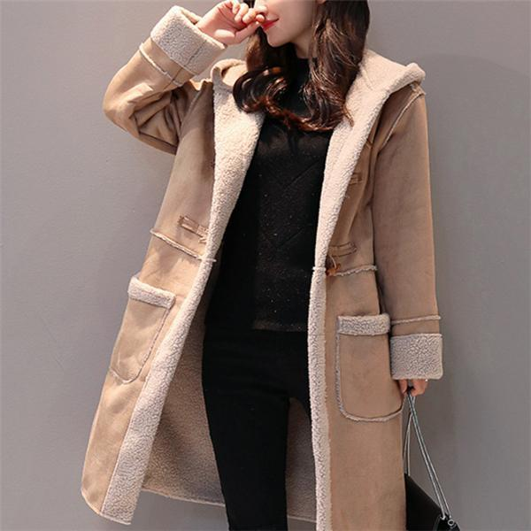 Fashion Cotton Padded Thicken Plain Loose  Long Coat