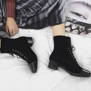 Fashion Women Suede Short Shoelace Boots