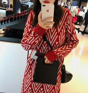 Casual Medium Length Knitted Warm Casual Dress