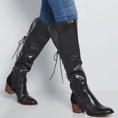Fashion Pointed Head Coarse Heel Plain Strappy High Boots