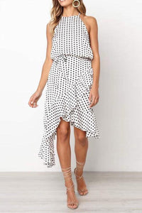 Polka Dot Printed Ruffled Hem   Strap Halter Dress