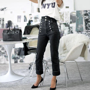 Slim High Waist Button Jeans Pants