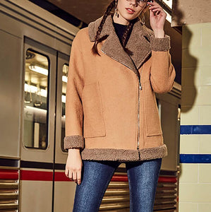 Fashion Lapel Loose Lamb Woolen Coat