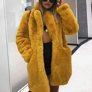 Faux Fur Plain Long Sleeve Casual Coats