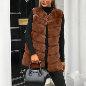 Faux Fur Sleeveless Fashion Vests Outerwear