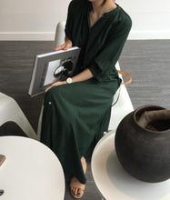 Load image into Gallery viewer, Fashion Pure Color Long Sleeve Loose Show Thin Shirt Maxi Dresses