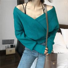 Load image into Gallery viewer, Fashion Sexy V Neck Pure Color Knitted Sweater