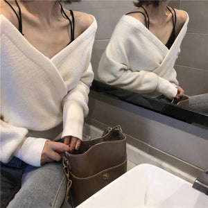 Fashion Sexy V Neck Pure Color Knitted Sweater