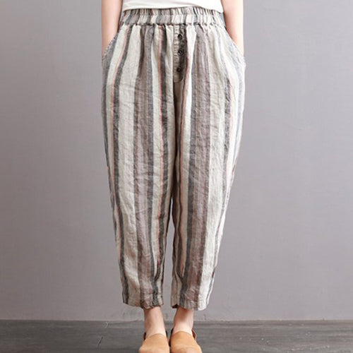 Fashion Loose Harem  Striped Casual Pants