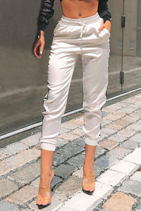 Casual Elastic Waist Color Block Casual Pants