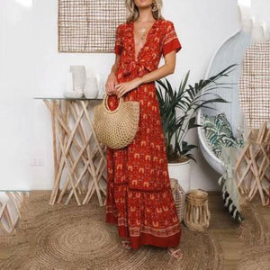 Sexy Deep V Collar Floral Printed Maxi Beach Vacation Dress