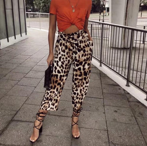 Leopard Print With Waistband Loose Casual Nine-Point Wide-Leg Pants
