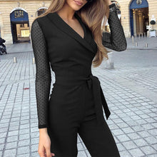 Load image into Gallery viewer, Fashion Lapel Long Sleeve Straight Jumpsuit