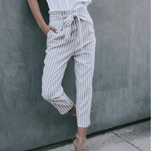 Casual Show Thin   Strips Frenulum Pencil Pants
