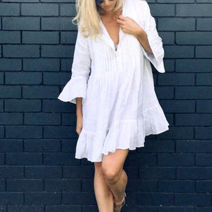V Neck Long Flare Sleeve Casual Dresses